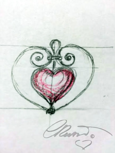 Heart pendant schetch signature
