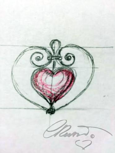 Heart pendant schetch signature