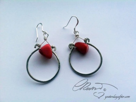 Red coral earrings s