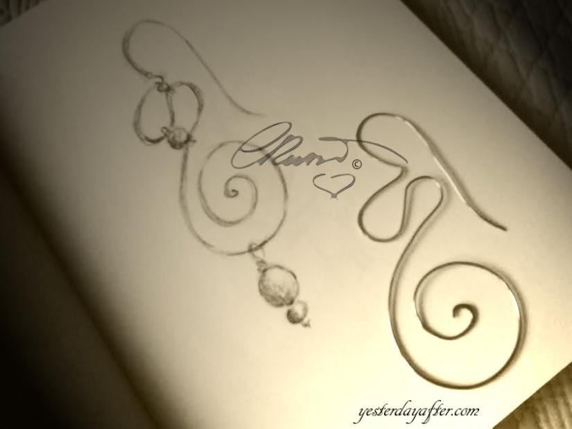 Swirl Earrings Sketch