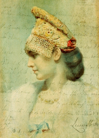 'Girl Wearing a Kokoshnik in Profile' is a Leon Bakst painting in a private collection, which I downloaded from Wikimedia and blended with a handwritten document, also from Wikimedia, and a texture from Kerstin Frank. Original & vintage art © First Night Design [www.firstnightdesign.wordpress.com]