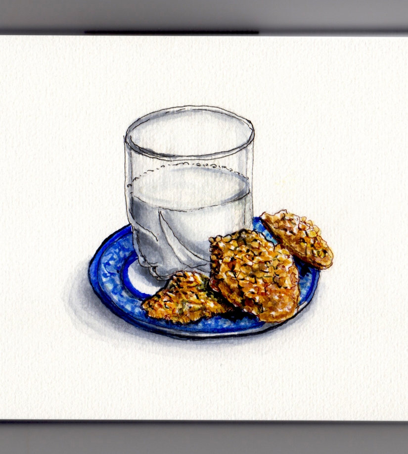 National Oatmeal Cookie Day Doodlewash and watercolor sketch of oatmeal cookies with a glass of milk on a plate white background
