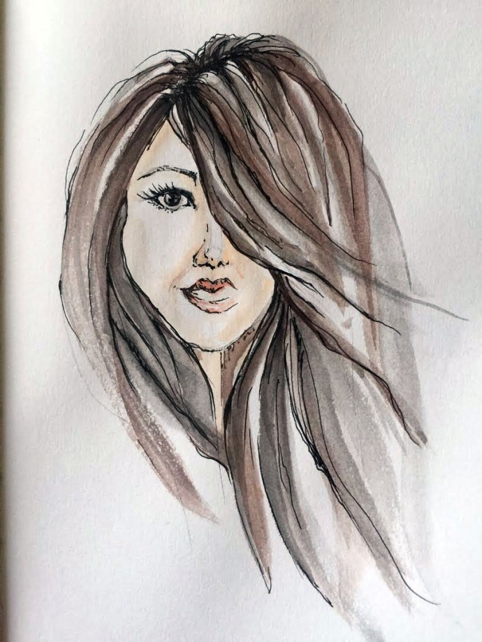 Self-Portrait - Original Watercolor ©Carolina Russo