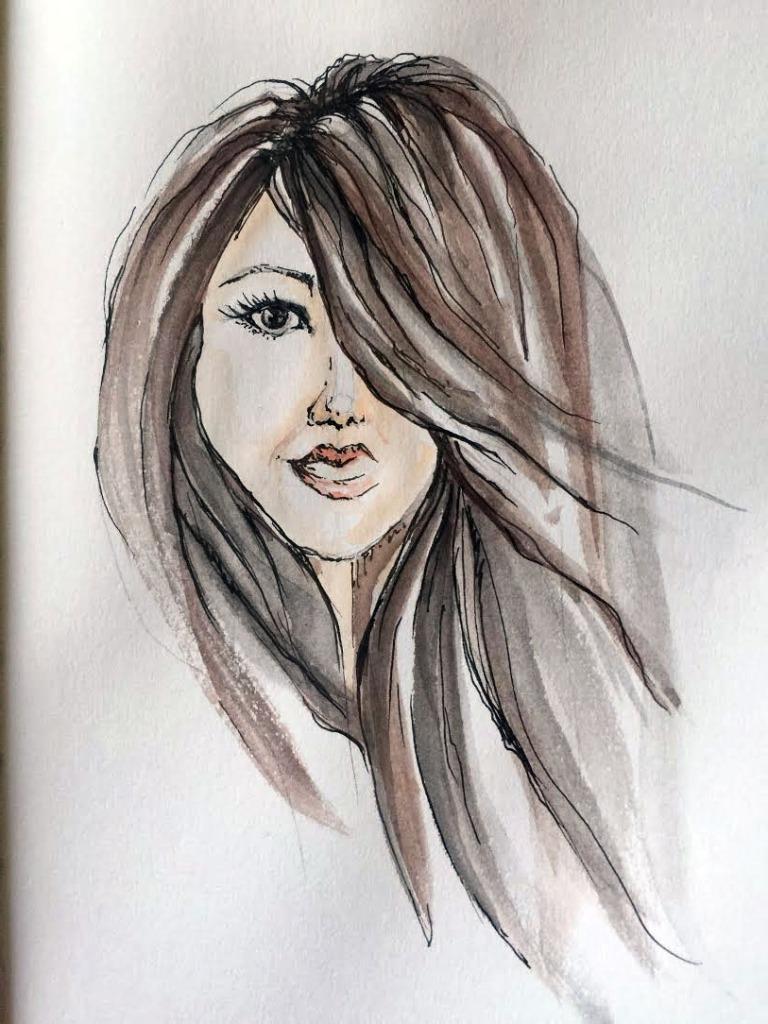 Self-Portrait - Original Watercolor ©Carolina Russo