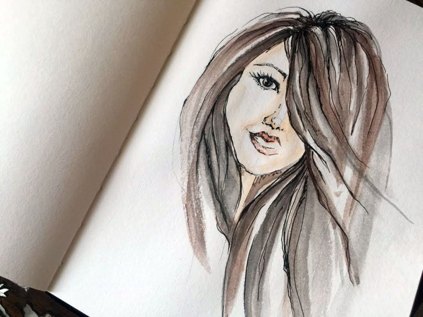 Self-Portrait Original Watercolor ©Carolina Russo