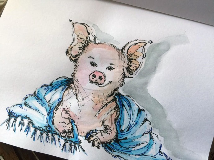 Pig In A Blanket - Original Watercolor ©Carolina Russo