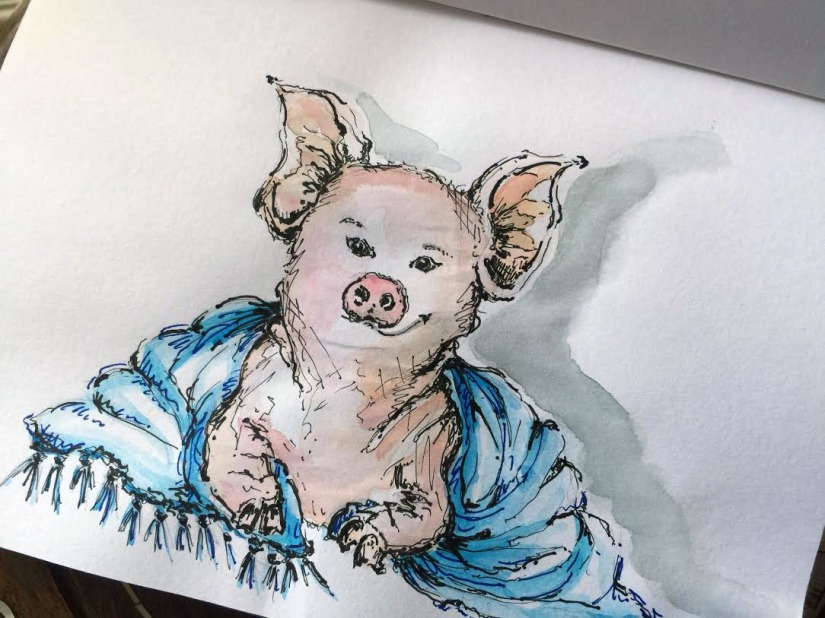 Pig In A Blanket - Original Watercolor ©Carolina Russo