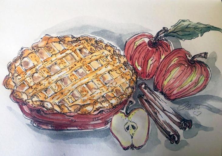 Apple Pie Original Watercolor ©Carolina Russo