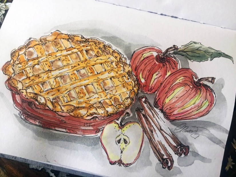Apple Pie Original Watercolor ©Carolina Russo