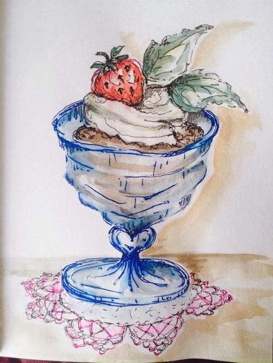 Chocolate Mint Mousse - Original Watercolor ©Carolina Russo