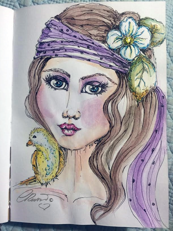 Girl With Bird - Original Watercolor ©Carolina Russo