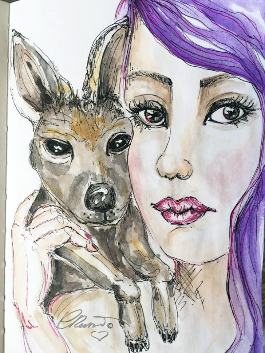 Kangaroo with Girl - Original Watercolor ©Carolina Russo