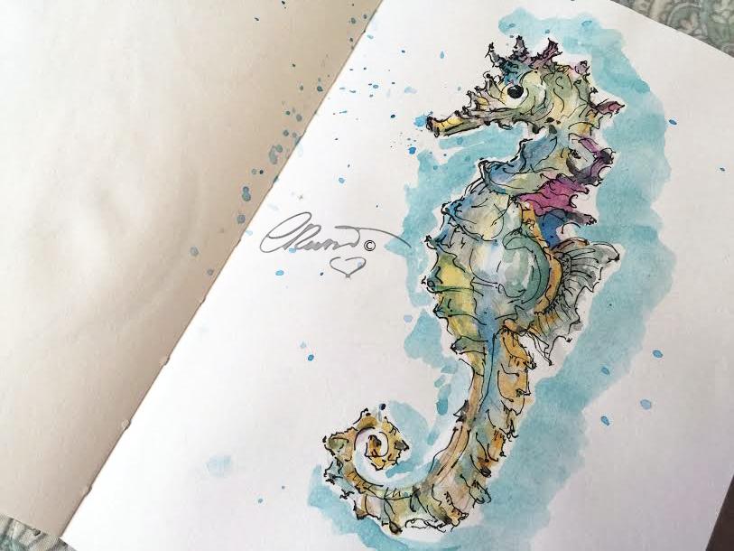 Seahorse - Original Watercolor ©Carolina Russo