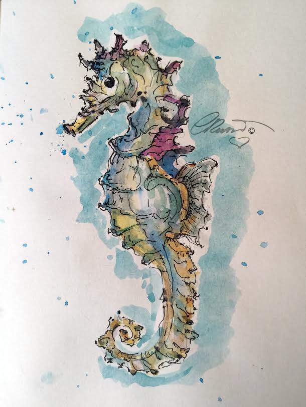 Seahorse - Original Watercolor ©Carolina Russo