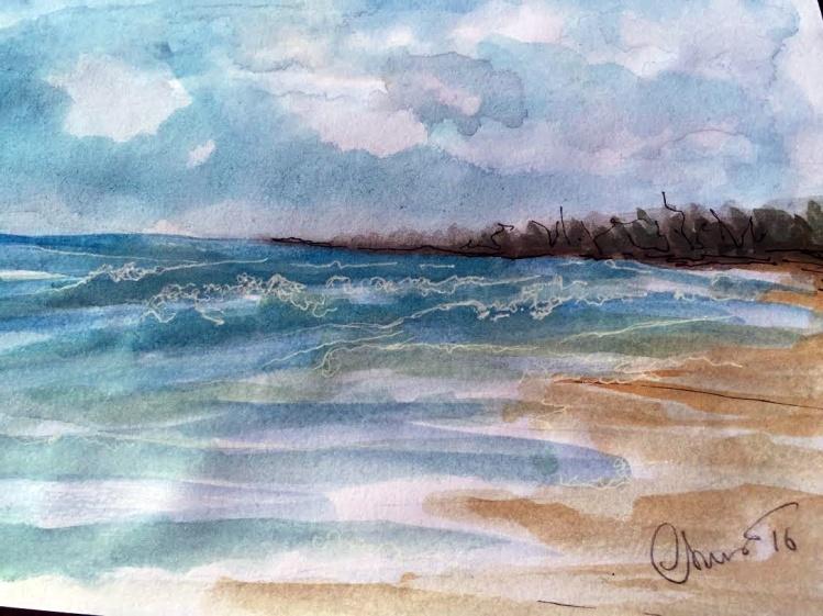 Day #24 World Watercolor Month - Beach - ©Carolina Russo