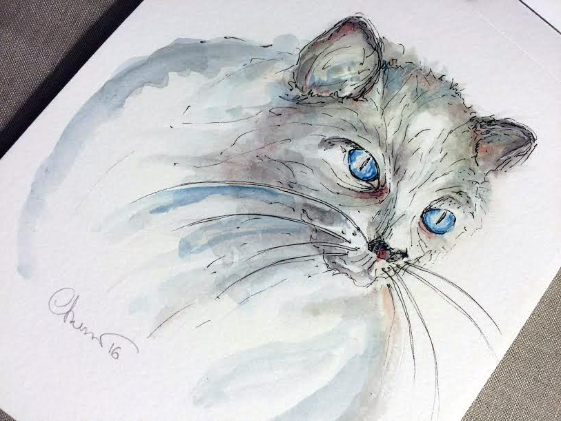 Day #18 - Blue Eyed Cat - Original Watercolor ©Carolina Russo