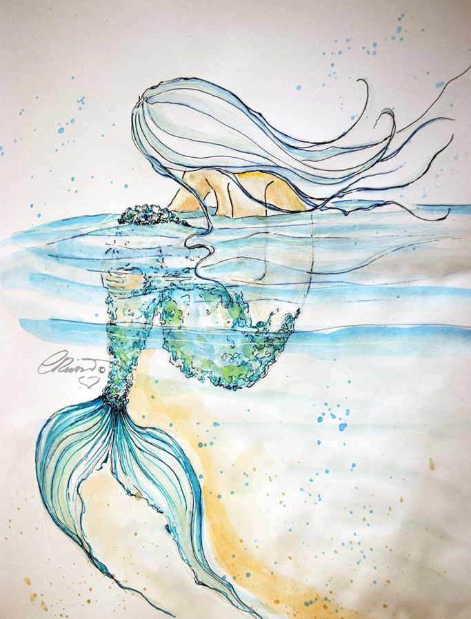 Day #31 -  World Watercolor Month - Ethereal Mermaid - ©Carolina Russo
