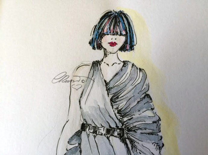 Day #14 - Fashion - Original Watercolor ©Carolina Russo