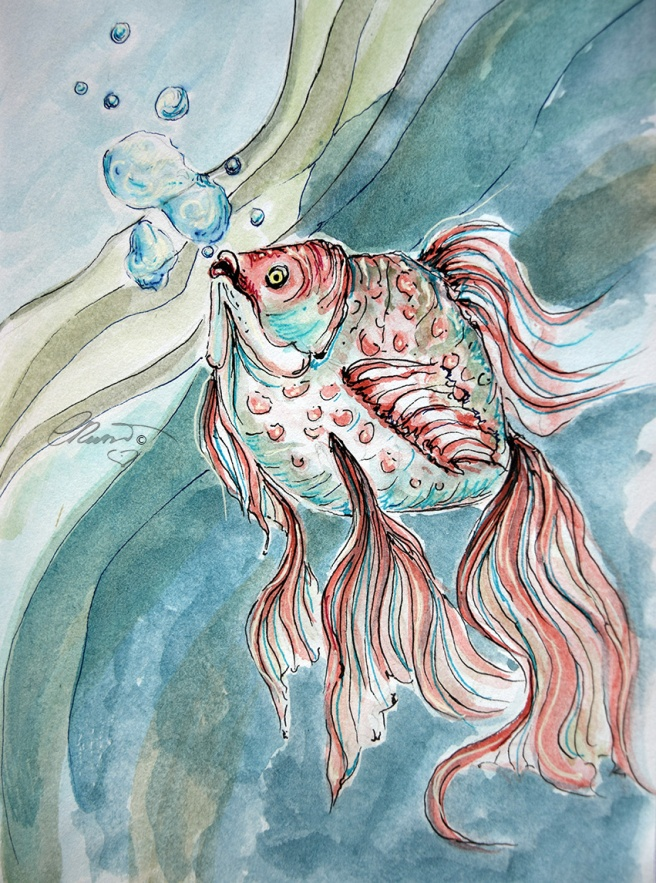Day #30 -  World Watercolor Month  - Fish and Bubbles - ©Carolina Russo