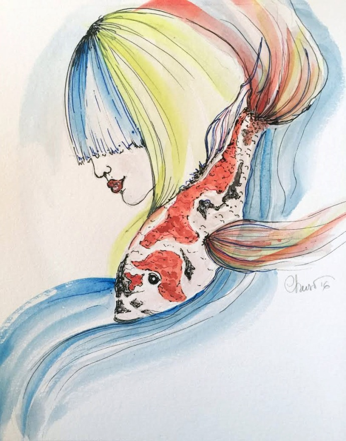 Day #7 - Girl With Koi - Original Watercolor ©Carolina Russo