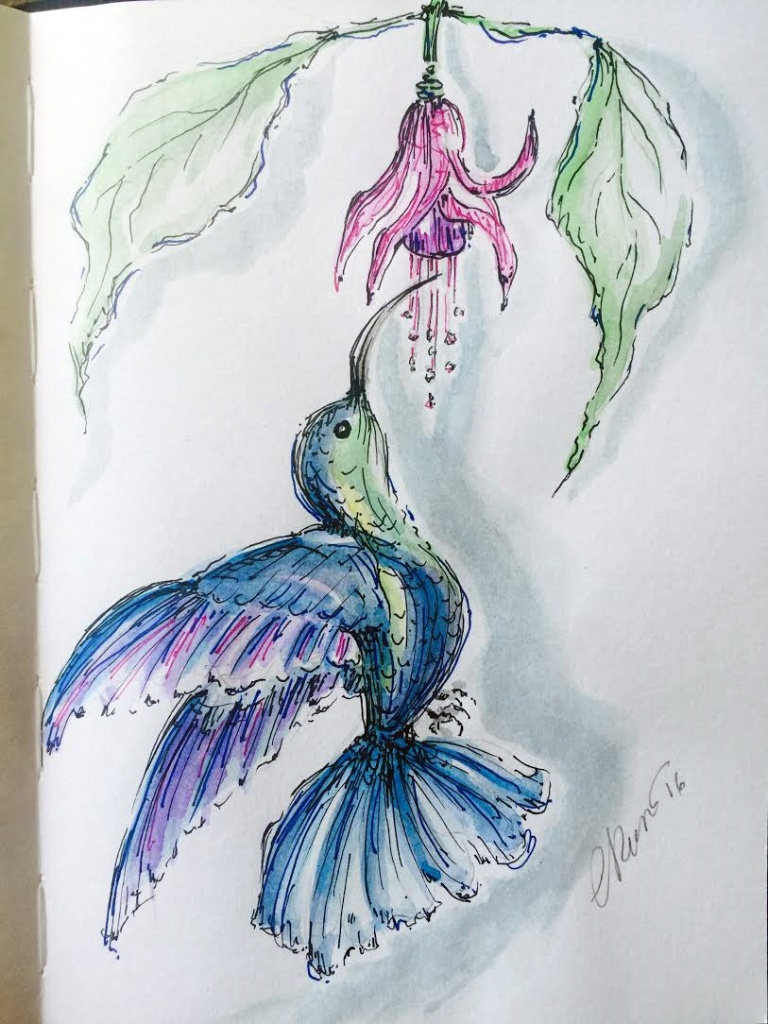 Day #8 - Hummingbird - Original Watercolor ©Carolina Russo
