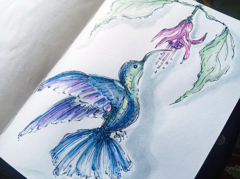 Day #8 - Hummingbird - Original Watercolor ©Carolina Russo