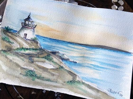 Day #22 - Lighthouse (Rhode Island) - Original Watercolor ©Carolina Russo