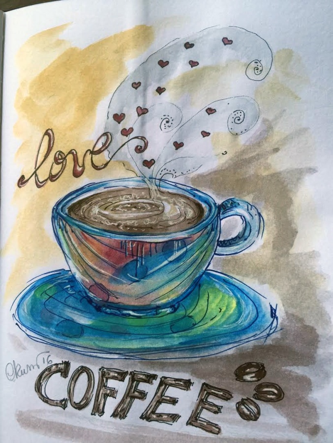 Day #23 WorldWatercolor Month - Love Coffee - ©Carolina Russo