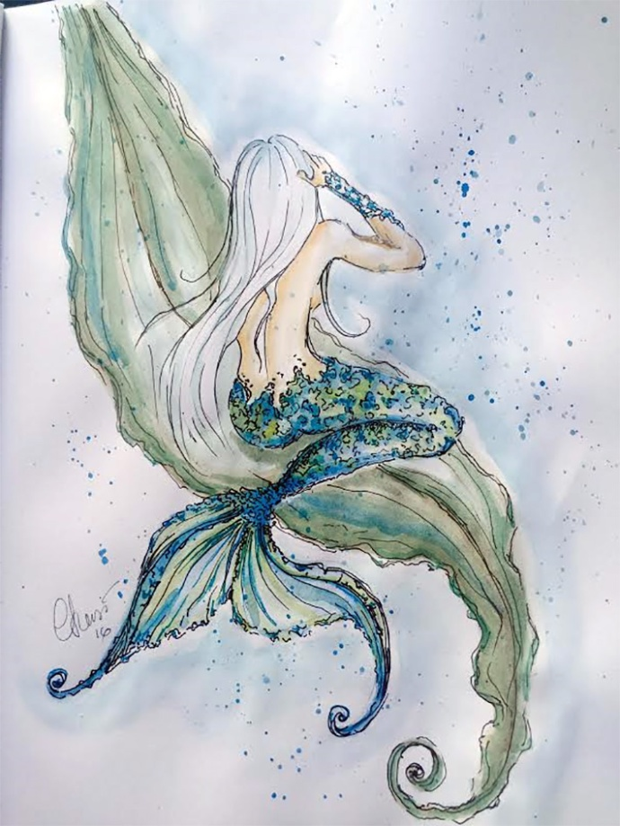 Day #17 - Marmaid - Original Watercolor ©Carolina Russo