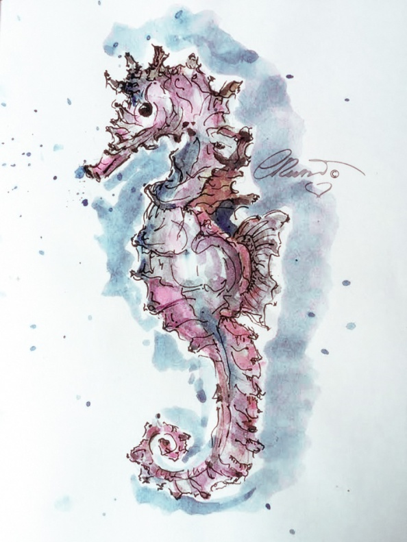 Day #27 - World Watercolor Month -Pink Seahorse - ©Carolina Russo