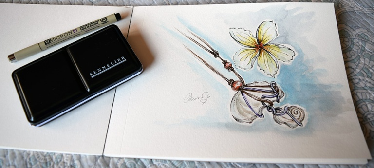 Day #21 - Plumeria and Jewelry - Original Watercolor ©Carolina Russo