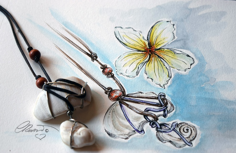 My Watercolor and my Jewelry
