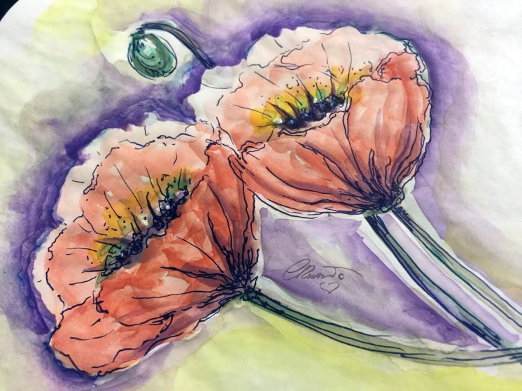 Day #25 -  World Watercolor Month  -Poppy Flowers  - ©Carolina Russo