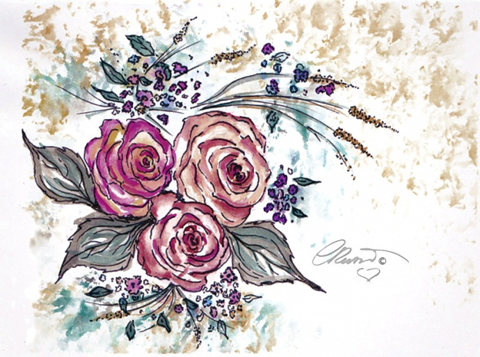 Day #29 -  World Watercolor Month  - Roses  - ©Carolina Russo