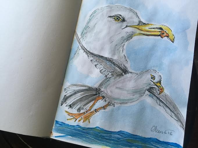Day #16 - Seagulls - Original Watercolor ©Carolina Russo