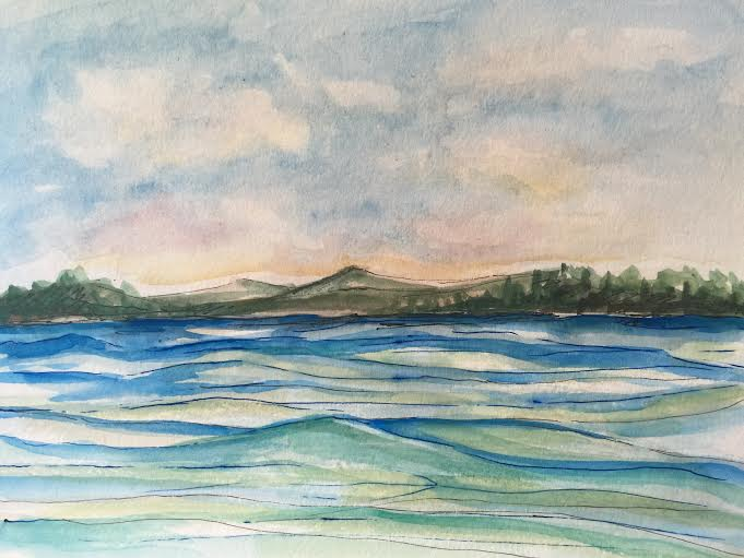 Day #20 - Ocean Blue - Original Watercolor ©Carolina Russo