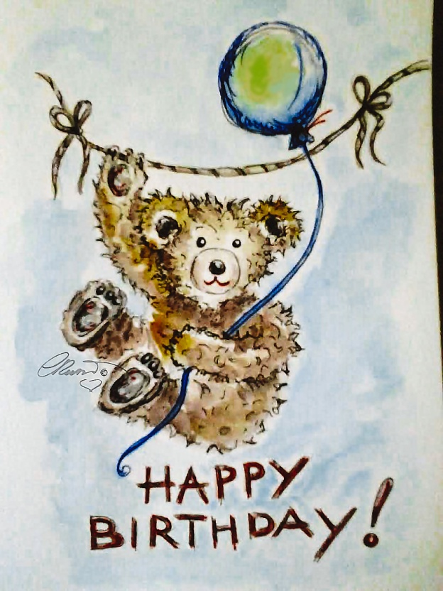 Day #19 - Teddy Bear - Original Watercolor ©Carolina Russo
