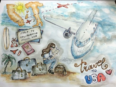 Travel From Italy To USA - Original Watercolor ©Carolina Russo