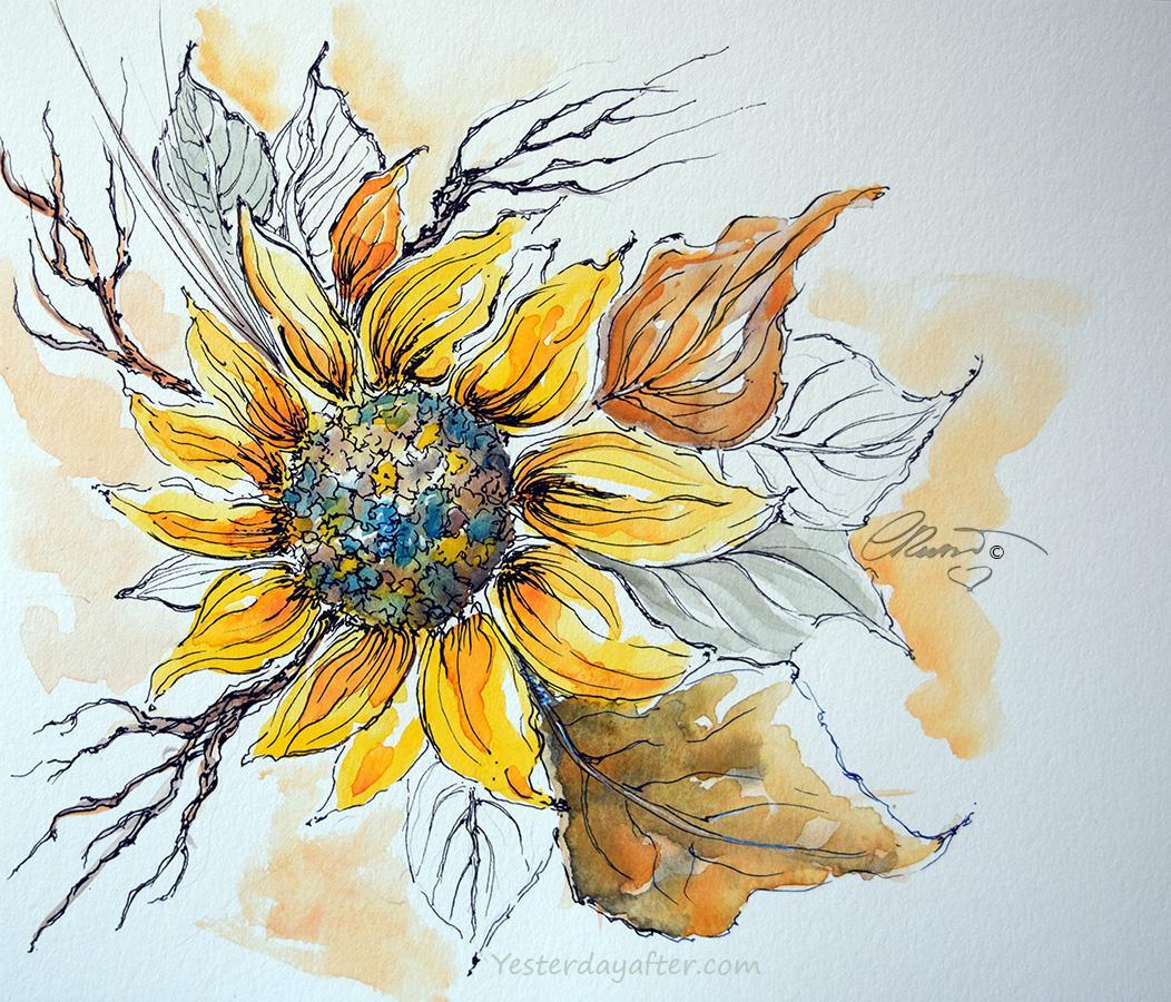 A Wild Sunflower #WorldWatercolorGroup - YesterdayAfter