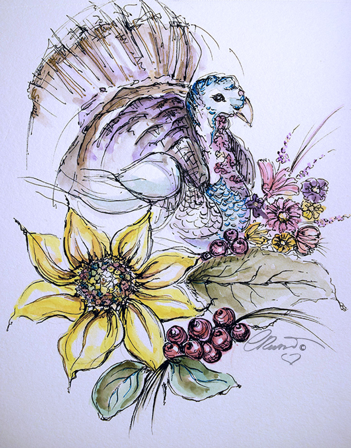 One Happy Turkey - Original Watercolor ©Carolina Russo