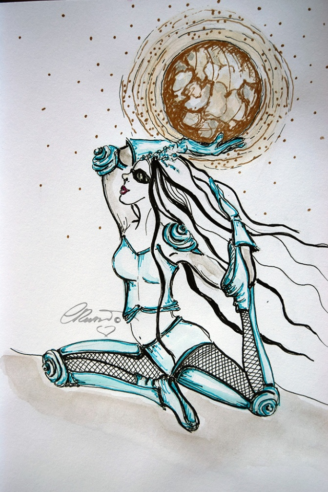 "Ylia Adventures ""Supermoon"" - Watercolor ink ©Carolina Russo"