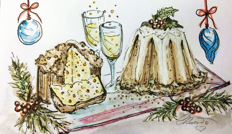 CAKE - Panettone Day 12 - Original Watercolor ©Carolina Russo