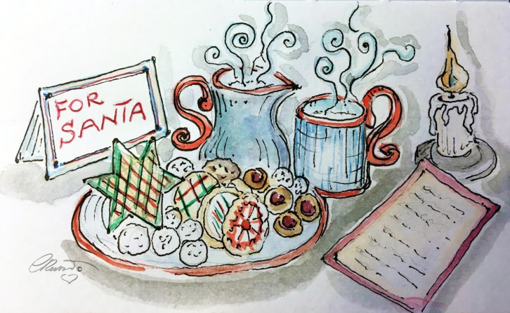 COOKIES And MILK  Day 24 - Original Watercolor ©Carolina Russo