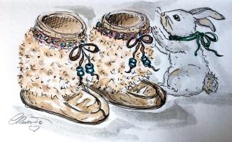 SLIPPERS Day 30 - Original Watercolor ©Carolina Russo