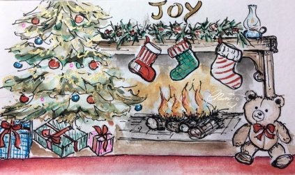 FIREPLACE Day 9 - Original Watercolor ©Carolina Russo