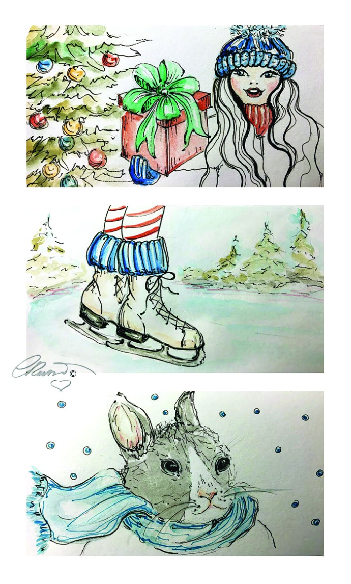 Gift Day 25 - Ice Skates Day 26 - Scarf Day 27 Original Watercolor ©Carolina Russo