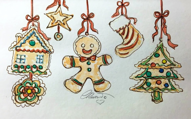 GINGERBREAD Day 14 - Original Watercolor ©Carolina Russo