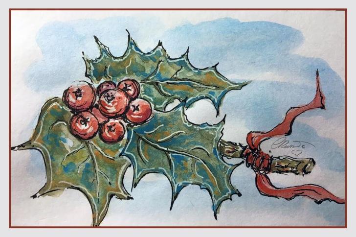 HOLLY Day 16 - Original Watercolor ©Carolina Russo