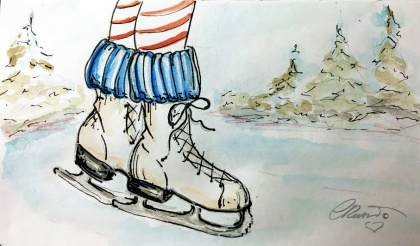 ICE SKATES Day 26 - Original Watercolor ©Carolina Russo