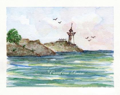 Lighthouse -Original Watercolor ©Carolina Russo